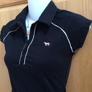 2/$20 Black Polo Pink Horse Button Up Top Shirt S